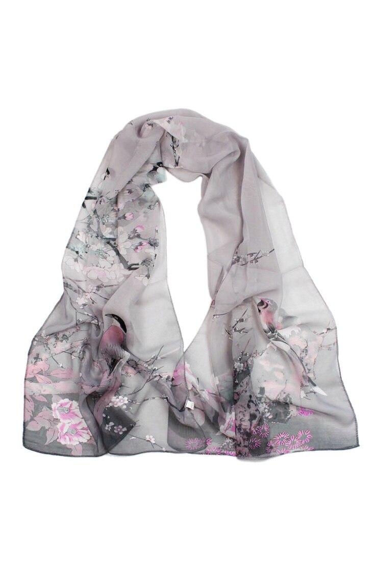 SAF-Ladies Chiffon Scrawl Flower Printed Wrap Scarf Gray