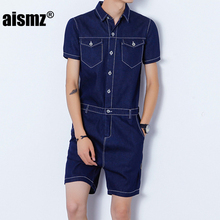 2d14b41c1410 Aismz Men s Rompers Short Sleeve Denim Jumpsuit Romper Playsuit Beach  Overalls One Piece Slim Fit Brand