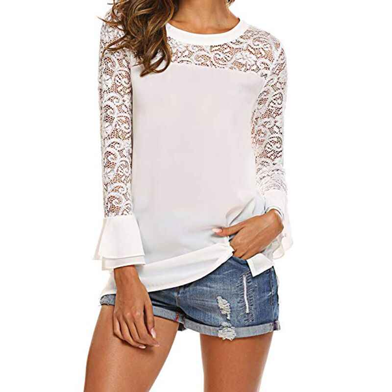 Womens Tops en Blouses 2019 Herfst Solid Lace Blouse Casual Losse Tops Lange Mouw Blouse Shirt Tuniek Blusas Pure Camisas mujer