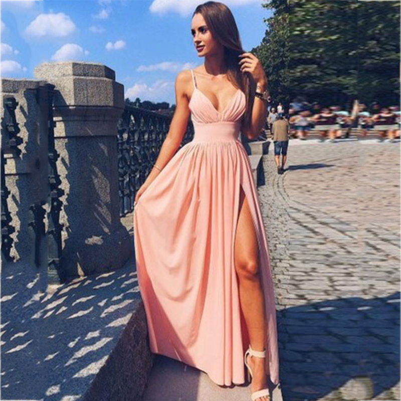 Sexy V-neck Pink Long   Bridesmaid     Dresses   2018 Simple Pleats Side Split Women Prom   Dress   Vestido De Festa Prom Party Gowns