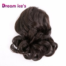 Dream ices synthetic black  fake body wave drawstring ponytail wig hair extension high puff bun chignon piece