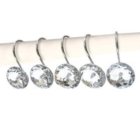 Decorative Crystal Shower Curtain Hooks Bling Rhinestones Rust Proof Polished Chrome For Bathroom Shower Rod 12