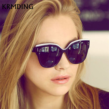 KRMDING Cat Eye Retro Sunglasses Women Brand Designer Fashion Coated Mirror Sexy Cateye UV400 Ms Glasses