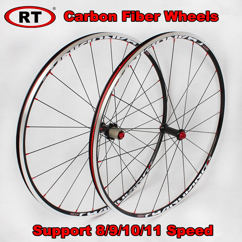 RT <font><b>700C</b></font> Ultra-light Carbon Fiber Road Bicycle Wheels <font><b>Rim</b></font> Drum 6 Claws 120 ring Sealed Bearing Wheels Racing wheelset <font><b>Rims</b></font> image