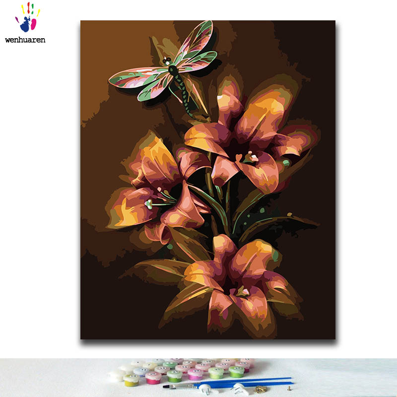 DIY Coloring Paint By Numbers Flower Paintings By Numbers With Kits 40x50 Framed