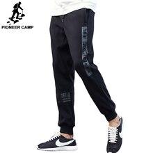 Pioneer camp marka jesień zima grube spodnie mężczyźni najwyższej jakości mody męskiej na co dzień spodnie z polaru czarny ciepłe spodnie dresowe 622136