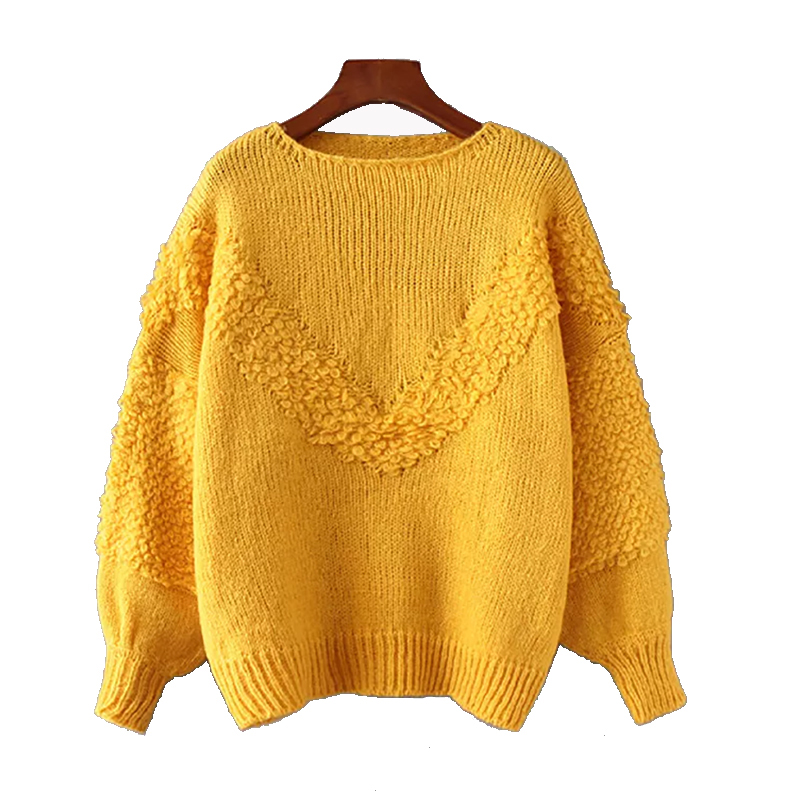 New 2018 Autumn Winter Fashion Women Sweater Yellow O-neck Lantern Sleeve Sweater Women Loose Female Knitted Pullovers