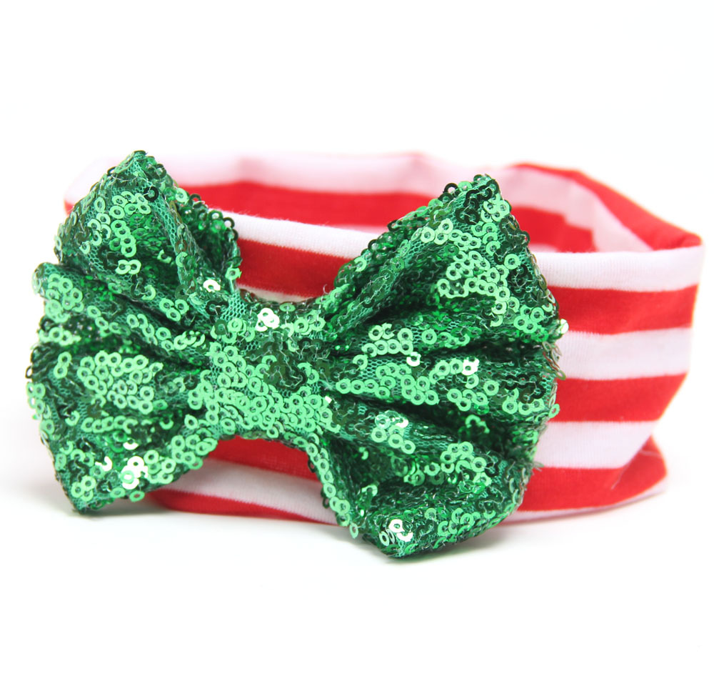 2018 Christmas hair accessories children baby headband green red glitter bow headbands baby hair headwear turban 20pcs/lot