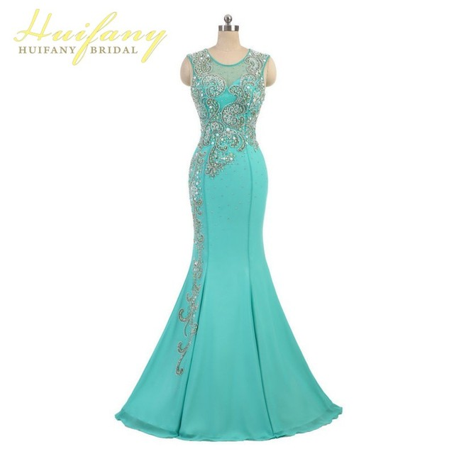 Real Picture O Neck Long Mermaid Prom Dresses Applique  Chiffion  Evening Party Dresses  Custom Made Vestido De Festa