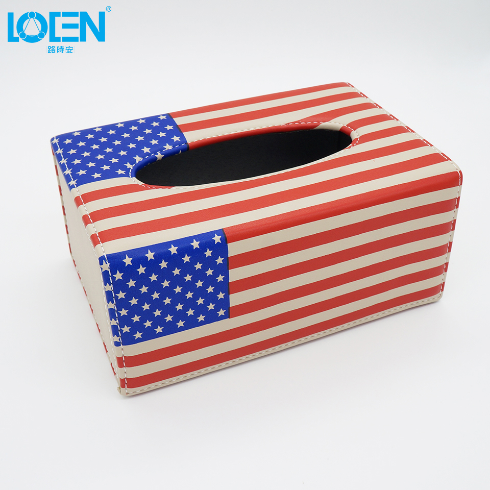 1pcs PU Leather Car Tissue Boxes American flag Auto Storage <font><b>Cover</b></font> Automobile Holder For Napkin Paper Towel Interior Accessories