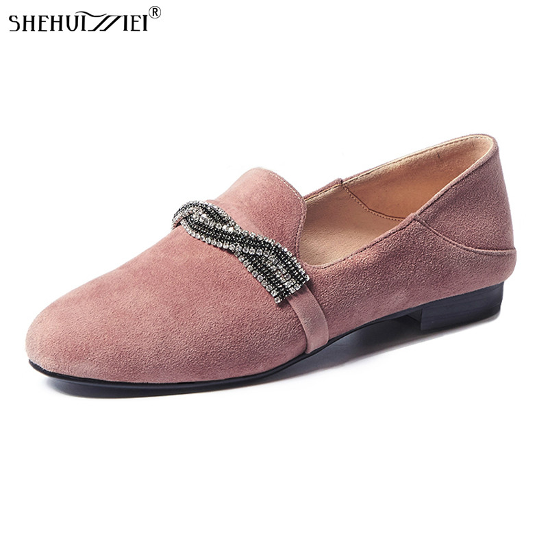 SHEHUIMEI Women Flat Shoes Real Suede Leather Loafer Shoes Woman Spring Autumn Casual Footwear Slip on Women Flats Black Pink cresfimix zapatos women cute flat shoes lady spring and summer pu leather flats female casual soft comfortable slip on shoes