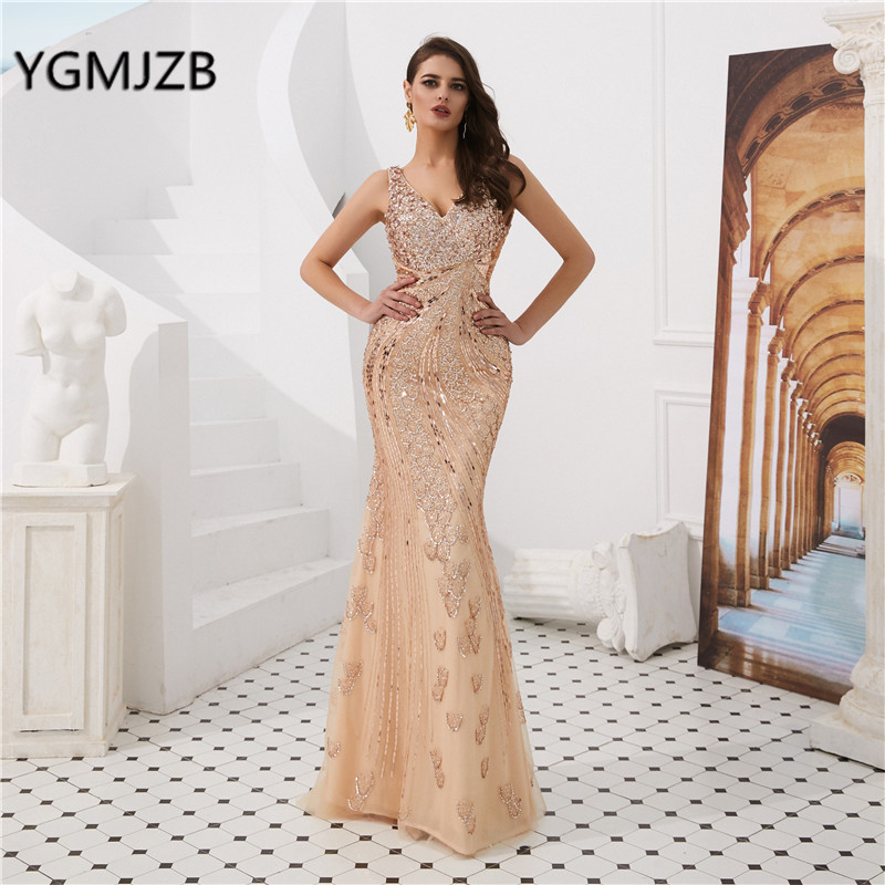 Elegant   Evening     Dress   Long 2019 V Neck Crystal Beading Backless Champagne Mermaid Prom   Dress   Formal Party Gown for Wedding