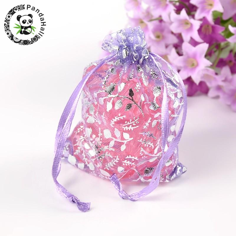 100pcs 9x7cm Rectangle Organza Bags Christmas Gift Bags With Ribbons For Jewellery Candy  Packaging, Lilac Color