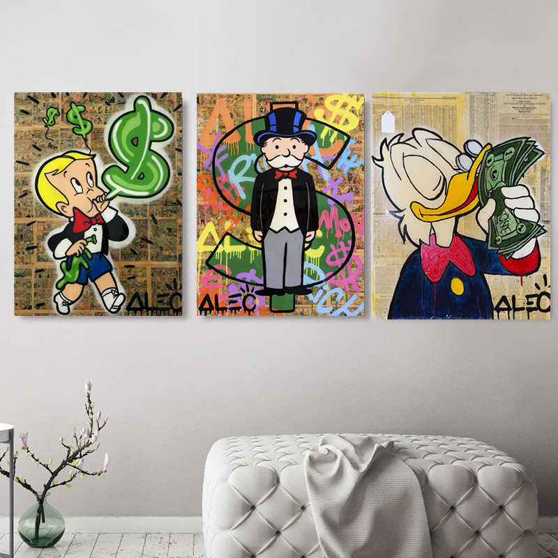 Alec Monopolyingly Richie Scrooge Dollari della Tela di Canapa Pittura Poster Stampe Graffiti Wall Street Art Immagini Per Living Room Decor