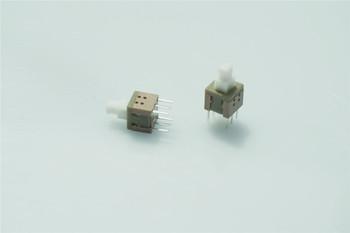 100 sztuk 5 8 #215 5 8mm x wysokość 10 2mm Push Button przełącznik opozycji przez otwór PCB DPDT blokada klucza DC30V 100mA tanie i dobre opinie PRZEŁĄCZNIKI PRZEŁĄCZNIK WCISKANY ROHS RTLECS 5 Year 58LHTH-RE SMT vertical type Z tworzywa sztucznego