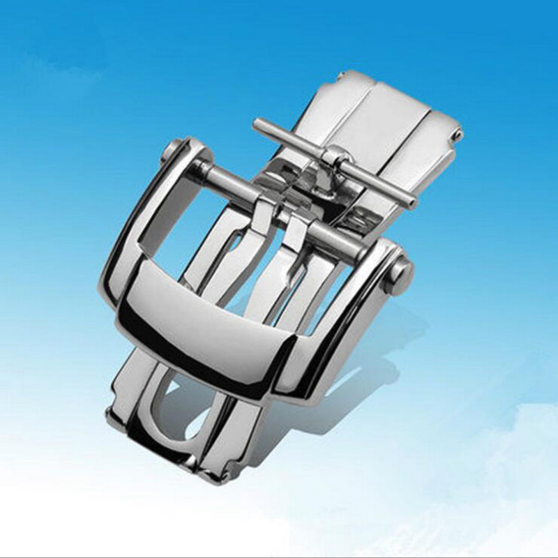 18mm High Quality 316L Stainless Steel Butterfly Watch Band Buckle Strap Silver Folding Clasp Replacement For Patek Philippe