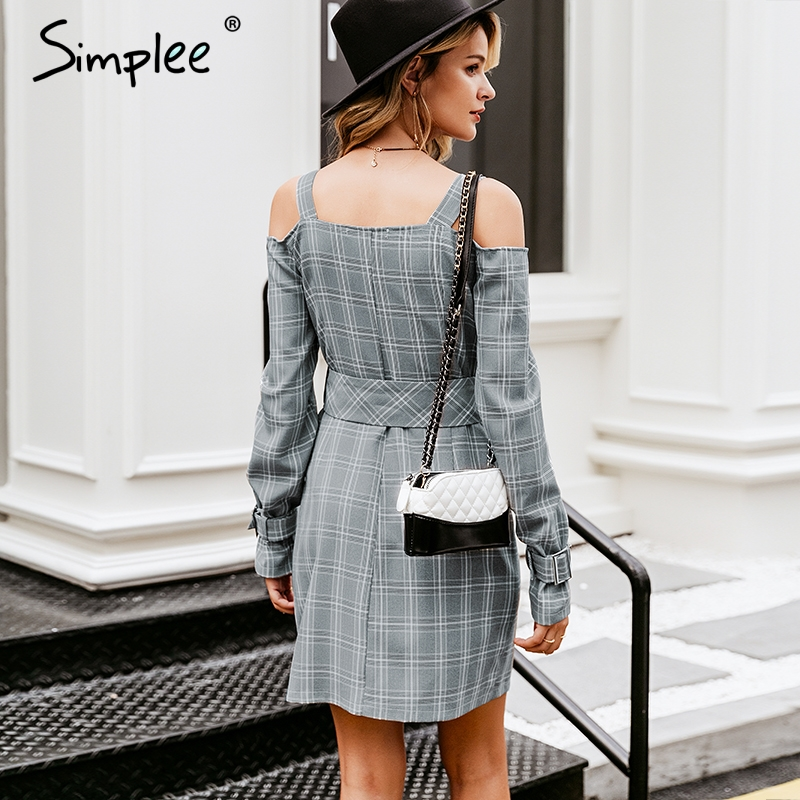 Image 4 - Simplee V neck plaid sash belt women dress Spaghetti strap button office ladies dress Autumn winter female short party dress-in Dresses from Women's Clothing