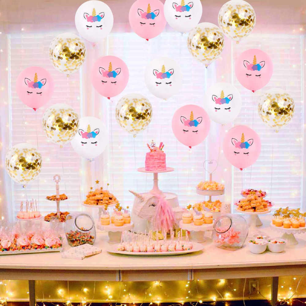 FENGRISE Unicorn Party Decorations Birthday Supplies Decoration Bedroom Home Cake Theme Kids Unicornio