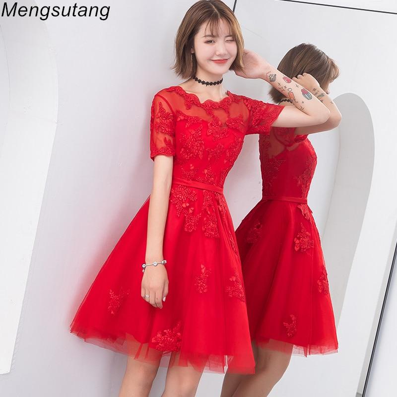 Robe de soiree New Red Lace up A Line Short Slim Summer vestido de festa   evening     dress   with Appliques Party   Dresses   prom   dresses