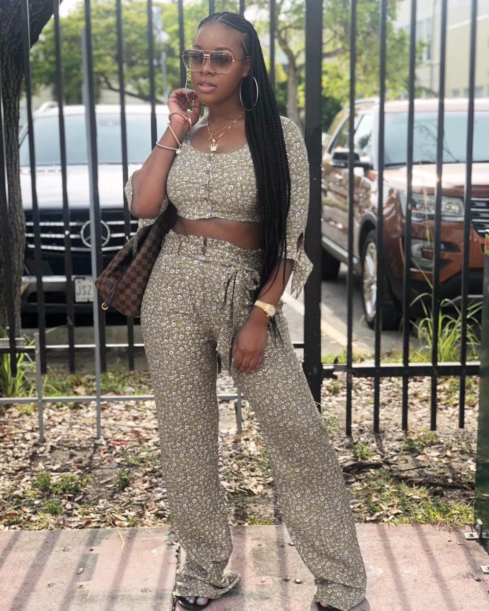 Competent Floral Printed 2 Piece Outfits Streetwear Lady Off The Shoulder Half Sleeve Crop Top And High Waist Long Pants With Sashes D8188 Suits & Sets