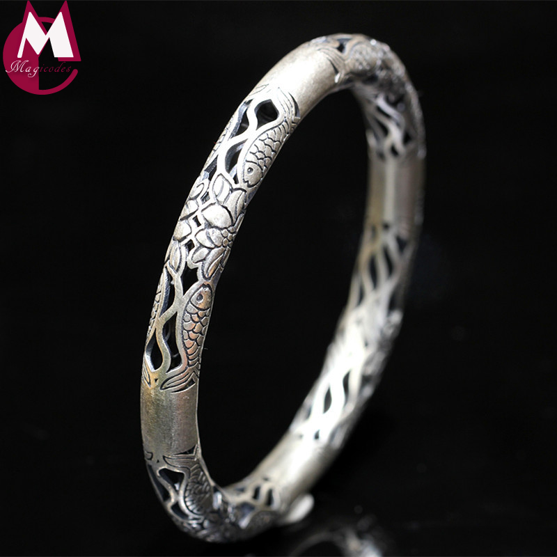 Ethnic Hollow Women Bracelets & Bangles 100% 990 Sterling Silver Bracelets For Women Vintage Flower Fish Indian Jewelry SB23 magic fish bracelets
