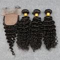 8А Глубоко Вьющиеся Дева Hair100 % Перуанский Человеческих Волос Weave 3 Расслоения С Шелковой Закрытия Дешевые Перуанские Курчавые Волосы Девственницы бразильский
