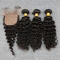 8A Virgem Profunda Cacheados Hair100 % Cabelo Humano Peruano Tecer Encaracolado Peruano Virgem Do Cabelo 3 Pacote Com Fecho De Seda Barato brasileira