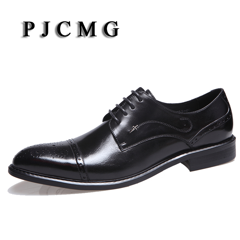 PJCMG New Fashion Black/Red/Brown Mens Flats Oxfords Lace-Up Genuine Leather Business Dress Mens Wedding Party Shoes top quality crocodile grain black oxfords mens dress shoes genuine leather business shoes mens formal wedding shoes