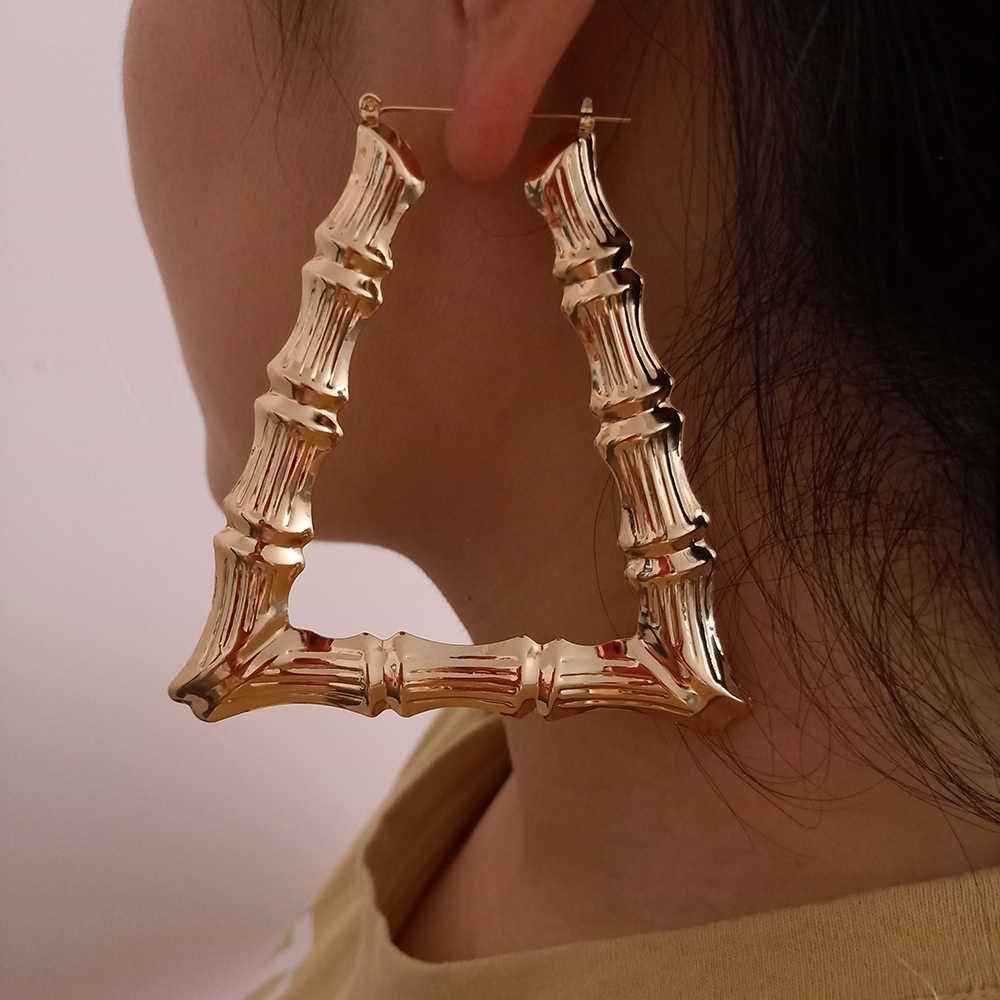SOHOT חדש אתני סגנון גיאומטרי חישוק עגילי זהב כסף צבע סגסוגת טון במבוק פאנק נשים גדול חלול קריאולי נשים Bijoux