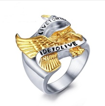 stainless steel punk style eagle pattern mens rings