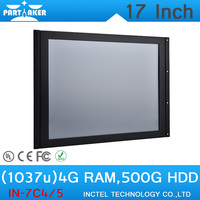17 Inch All IN One Desktop pc touchscreen LED Panel PC with Intel Celeron 1037u 1.8Ghz 4G RAM 500G HDD