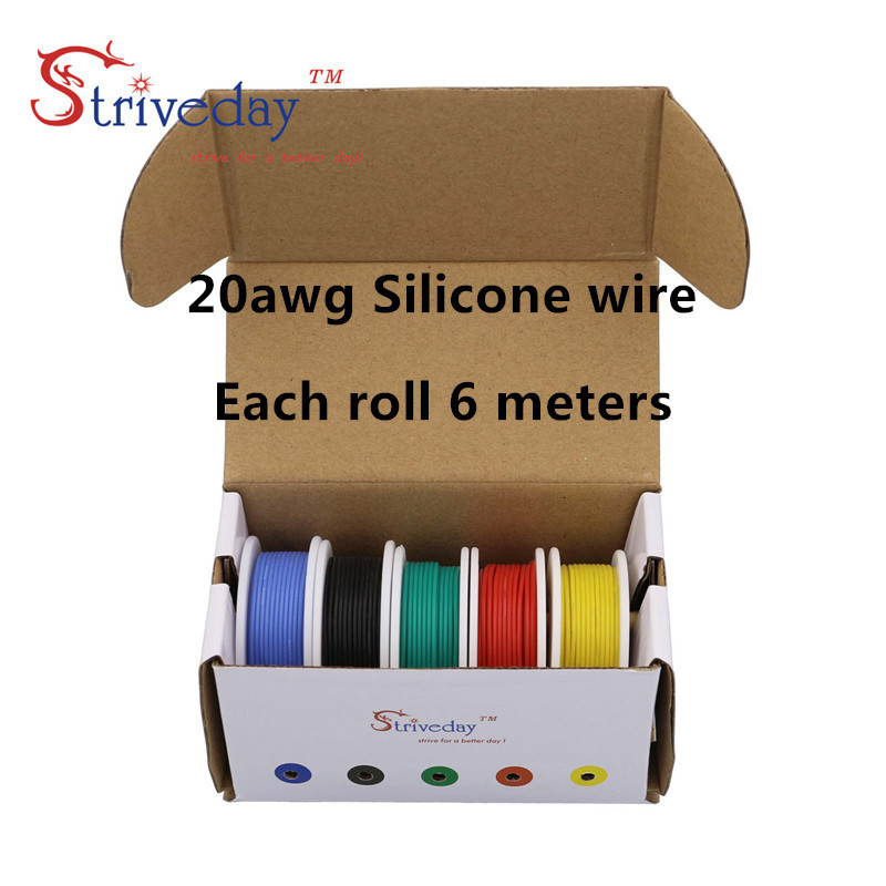 30 meters/box 20AWG Flexible Silicone Wire Tinned Copper line ( 5 colors mix Stranded Wire Kit) each colors 19.68 feet 20awg soft flexible silicone wire black red 100cm 2 pcs
