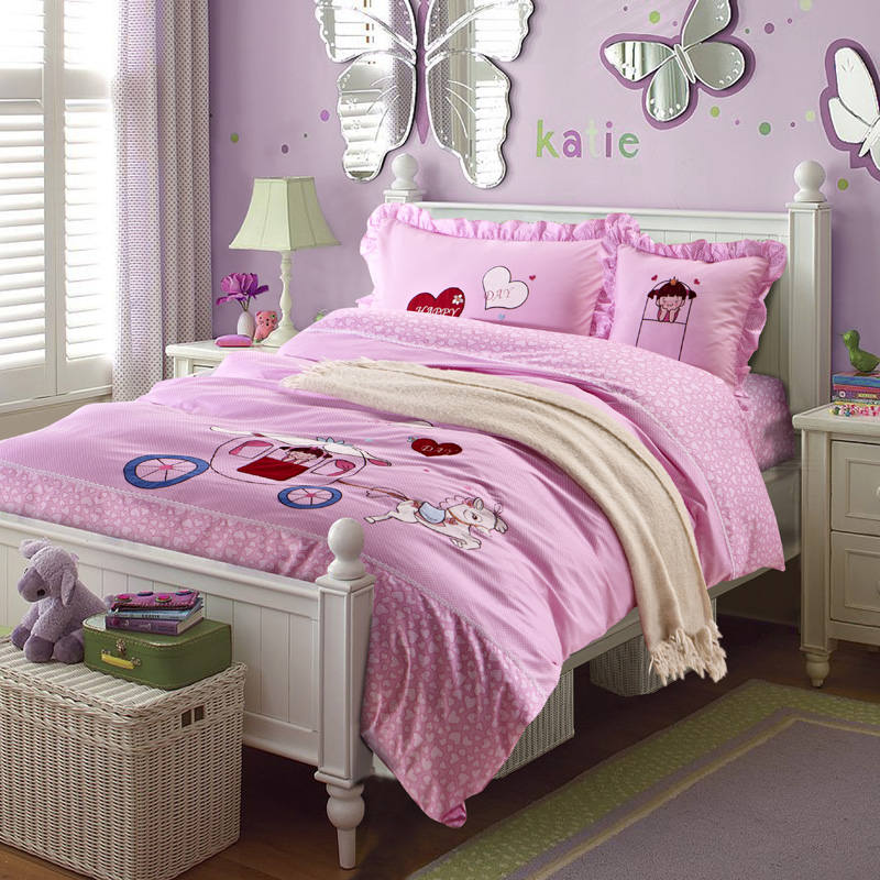 polka dot cartoon applique embroidered bedding sets twin full queen size duvet covers bedspreads cotton woven