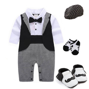 Image 4 - 1 set baby wedding birthday party Tuxedo twins cotton bodysuit outfits & set Christening suit photo props outfits