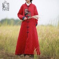 LZJN Automne Hiver Veste Femmes Mince Coton Rembourré Tranchée Manteau Chinois Matelassé Longue Coupe-Vent Rouge Ouatée Couche Poudreuse 7188