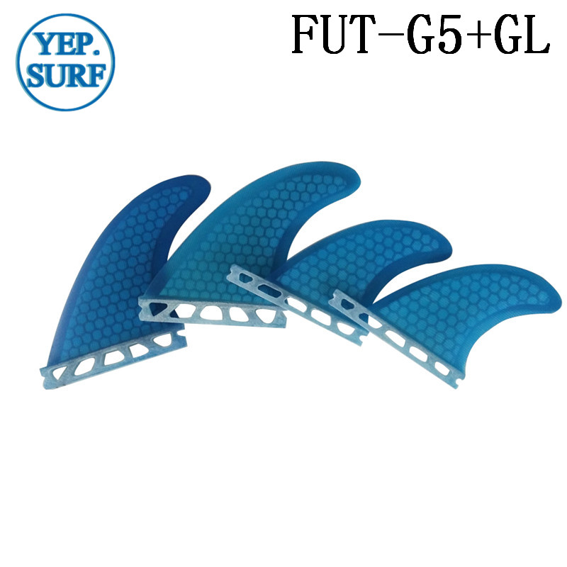 Future G5+GL Blue Surfboard Fin Quad  Fin Set Fiberglass Honeycomb Fin Orange