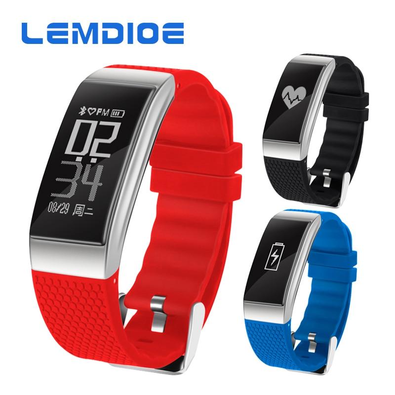 LEMDIOE DB07 IP68 Waterproof Fitness Bracelet Support Blood pressure ECG Heart Rate monitor Sports Activity Tracker
