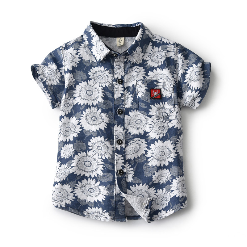 Nett Baby Jungen Casual Sonnenblumen Hemd Sommer 2019 Tiny Baumwolle Kleinkind Kid Kurzarm Bluse Strand Kinder Kleidung 2 3 4 5 6 Jahre