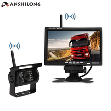 купить ANSHILONG Wireless IR 18LED Waterproof Backup Camera Rear View System for Bus Truck Trailer+7 Wireless Car LCD Screen Monitor дешево