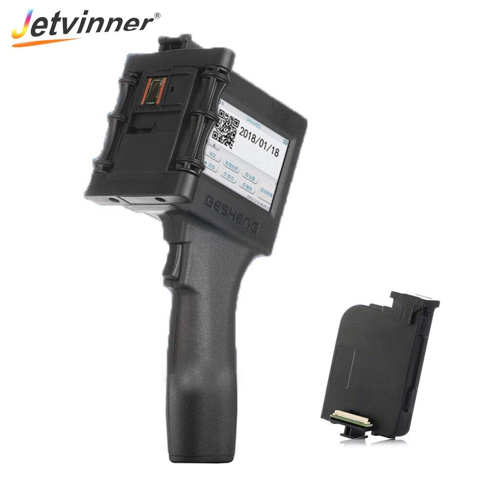 Jetvinner Handheld Inkjet Printer Portable Print Machine with two ink Cartridge for Food Packing Label Plastic