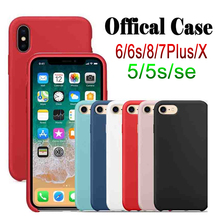Have LOGO Original Silicone Case For iphone 7 Case For iphone X Cases Phone Cover for Apple iPhone 6 6s 8 7 Plus Coque Reail Box
