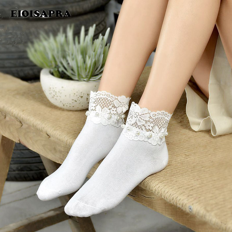 [EIOISAPRA]2 Colors Spring/Summer New Product Women's Cotton Lovely Fashion Retro Imitation Pearl   Socks   Handmade