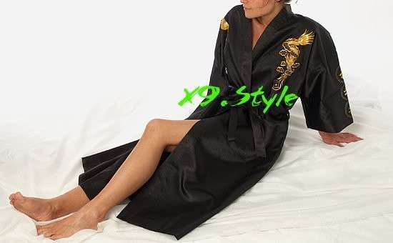 Black Chinese Womens Silk Satin Embroidery Robe Kimono Bath Gown Dragon S M L XL XXL XXXL S0011