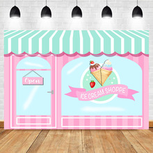 Ice Cream Parlor Backdrop Birthday Party Photo Baby Shower Decorations Supplies Banner Photography Background