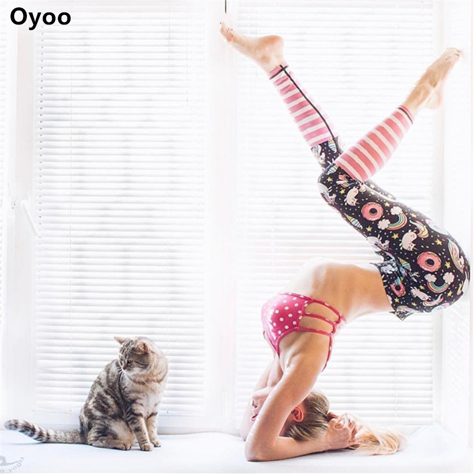 Oyoo High Waist Colorful Yoga Pants Unicorn Printed Fitness Legging Women Sportswear Pink Stripes Leggings Running Yoga Tights trendy colorful printed high waist wide leg pants for women