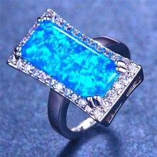 Boho, мужское, женское, бело-голубое кольцо с огненным опалом, большой 925 пробы, заполненное серебром, свадебные ювелирные изделия, кольца для помолвки для женщин