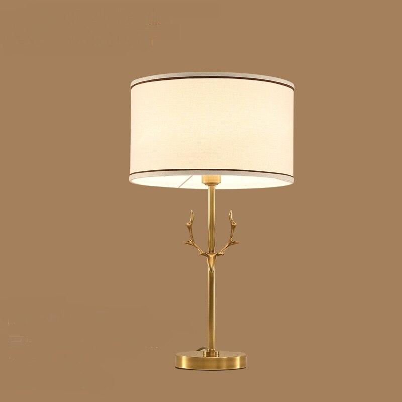 Американский стиль все медь Спальня прикроватный настольная лампа Современный Творческий Ткань Гостиная Исследование оформлены настольн...