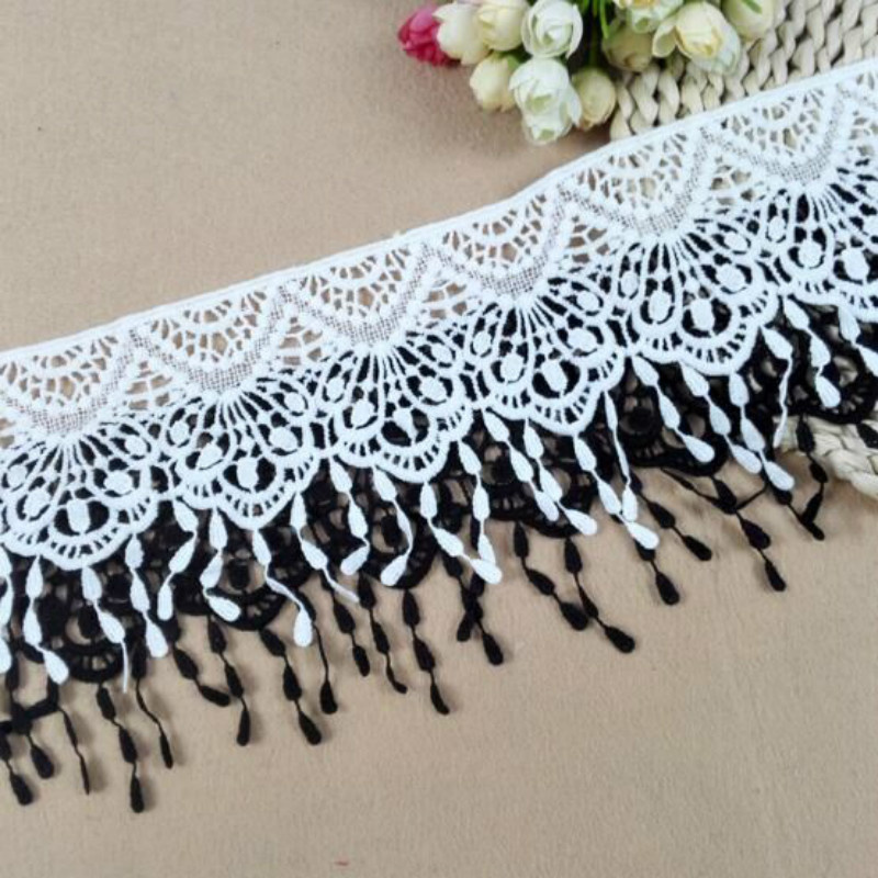 13-22cm White And Black Lace Trim Fabric Water Soluble Tassel Ribbon For Sewing Bridal Wedding Dress Crafts