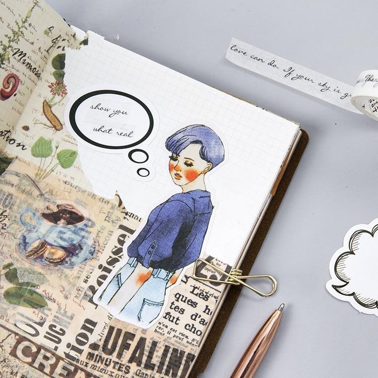 Купить с кэшбэком Paper black white dialogue shape Cute Stationery Sticker Diy Cartoon For Planner Scrapbooking Diary School Office Supplies Gift