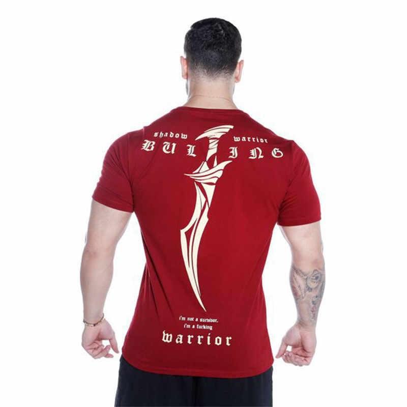 新しい男性ジムフィットネス圧縮 tシャツスキニー弾性ボディービルワークアウトシャツ男性黒 tシャツブランド服 2019